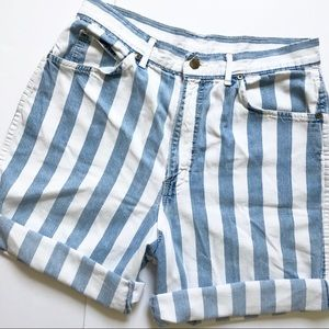 Vintage | Chic Striped Denim Shorts High Waisted